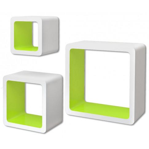 Zestaw biało-zielonych półek ściennych Luca 2x