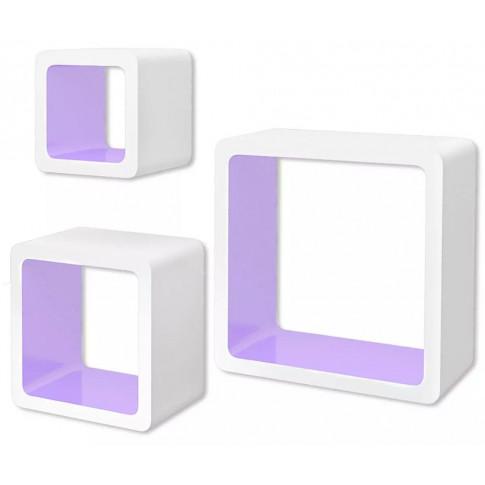 Zestaw biało-fioletowych półek ściennych Luca 2X