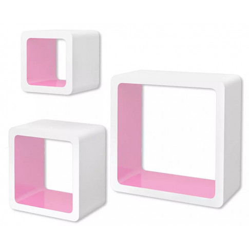 Zestaw biało-różowych półek ściennych Luca 2x