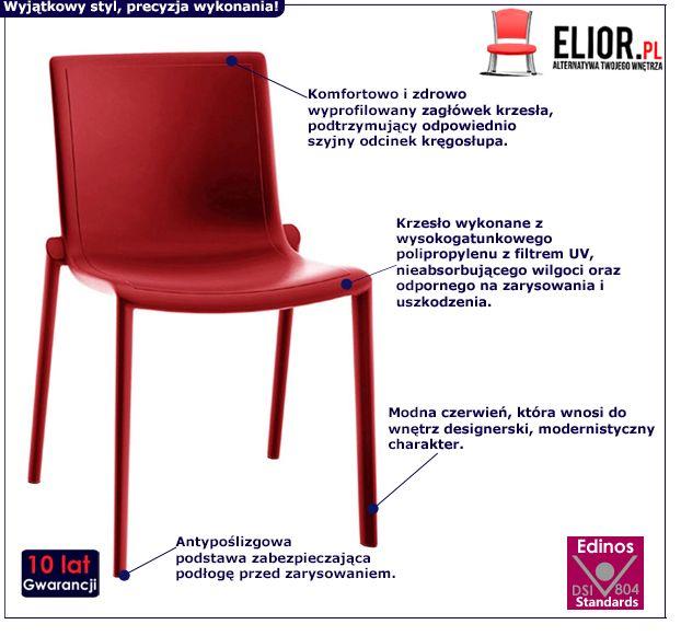 Designerskie krzesło Eston - czerwone