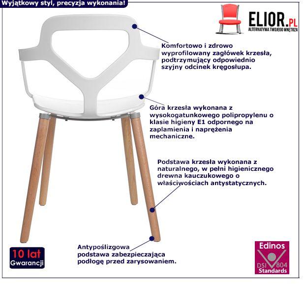 Designerskie krzesło Palmo - białe
