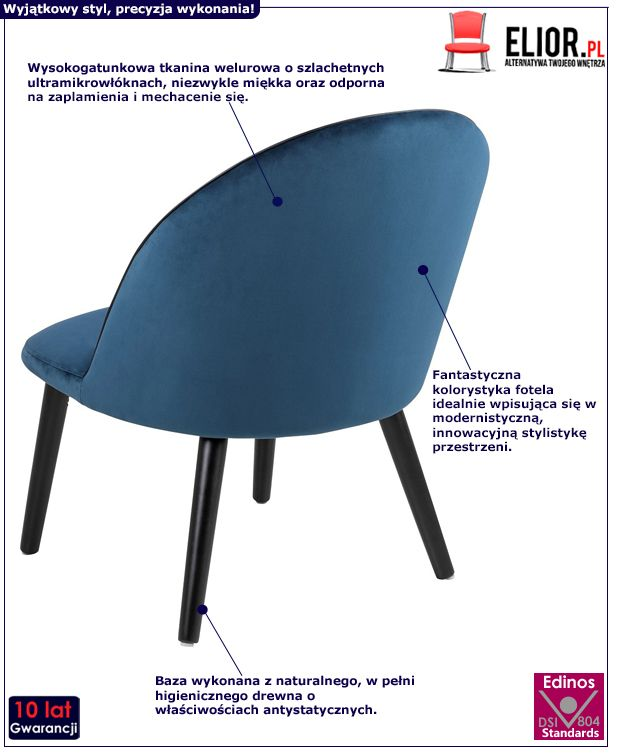 Welurowey fotel Milmo - niebieski