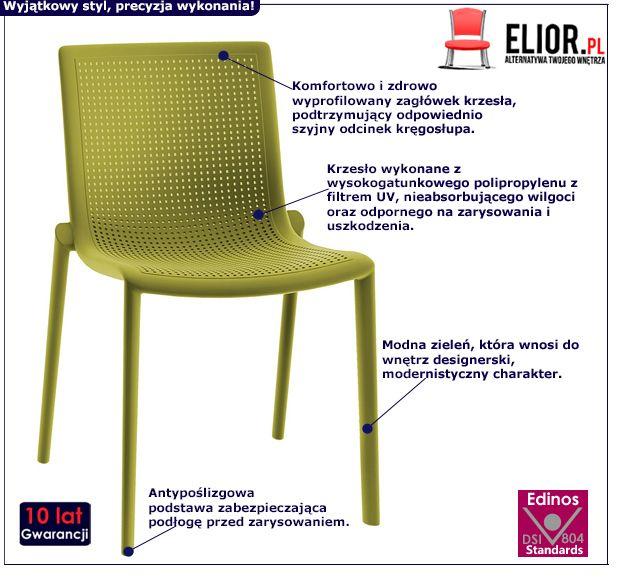 Modne krzesło Ontio - zielone