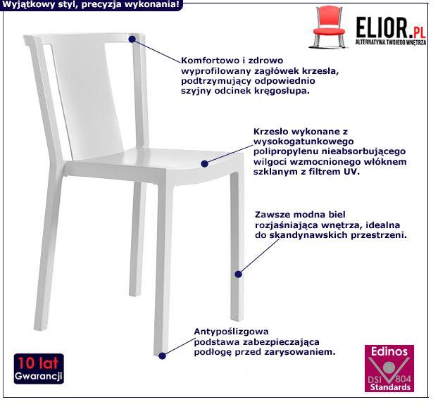 Stylowe krzesło Evia - białe