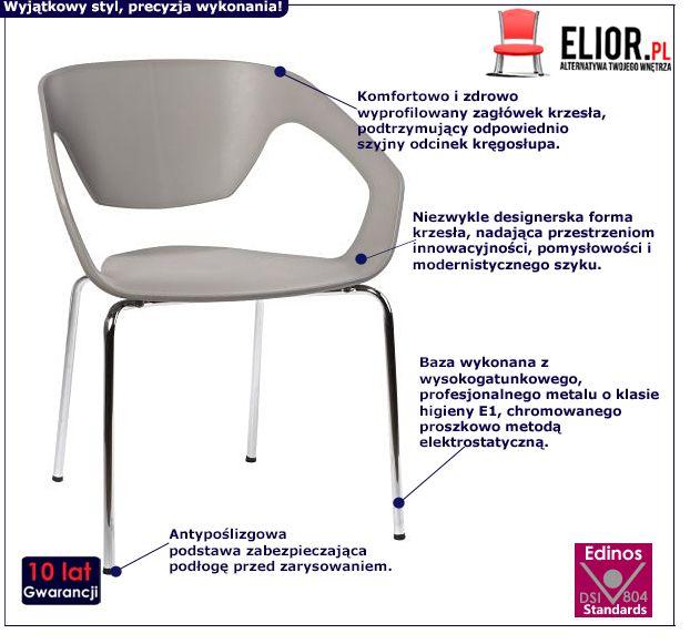 Designerskie krzesło Dakoto - szare