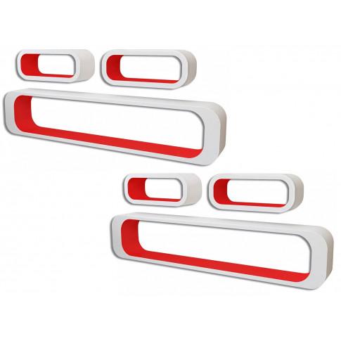 Zestaw biało-czerwonych półek ściennych Mins 3X