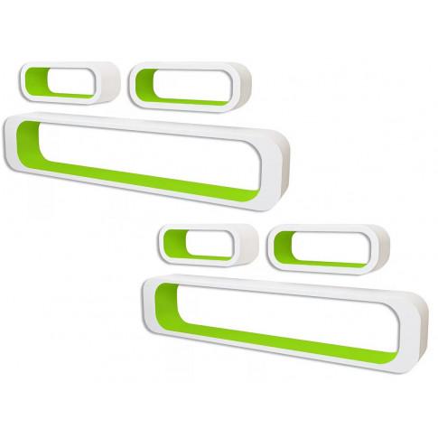 Zestaw biało-zielonych półek ściennych Mins 3X