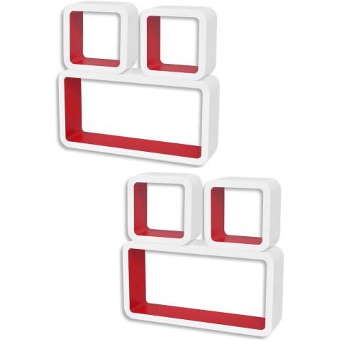 Zestaw biało czerwonych półek ściennych Lara 3x