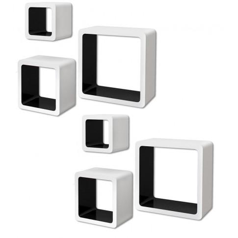 Zestaw biało-czarnych półek ściennych Luca 3X