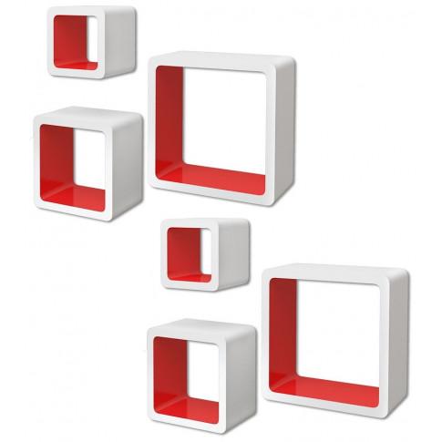 Zestaw biało-czerwonych półek ściennych Luca 3X