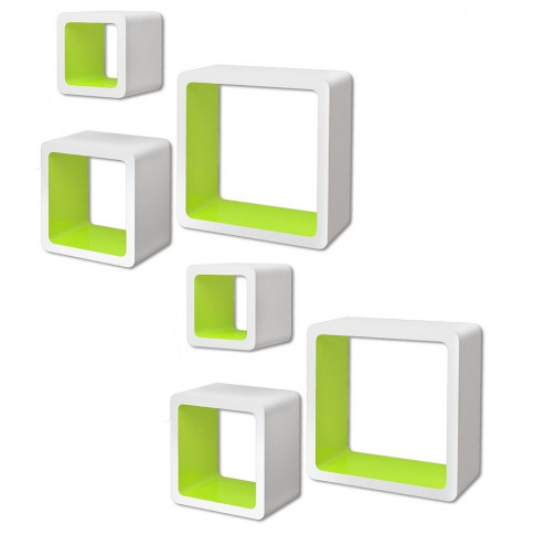 Zestaw biało-zielonych półek ściennych Luca 3X