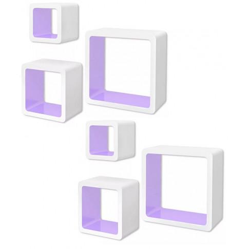 Zestaw biało-fioletowych półek ściennych Luca 3X