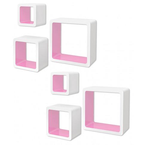 Zestaw biało-różowych półek ściennych - Luca 3X