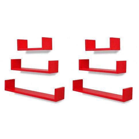 Zdjęcie produktu Zestaw funkcjonalnych półek ściennych Baffic 4X - czerwony.