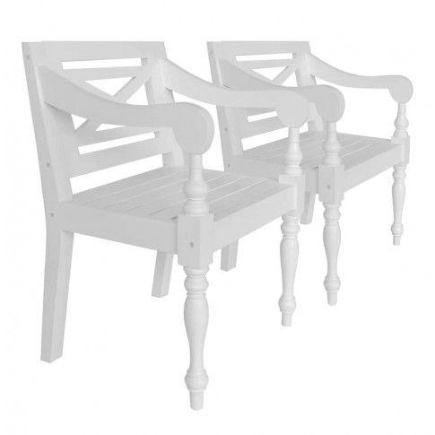 Zdjęcie produktu Mahoniowe krzesła tarasowe Amarillo 2 szt - białe.