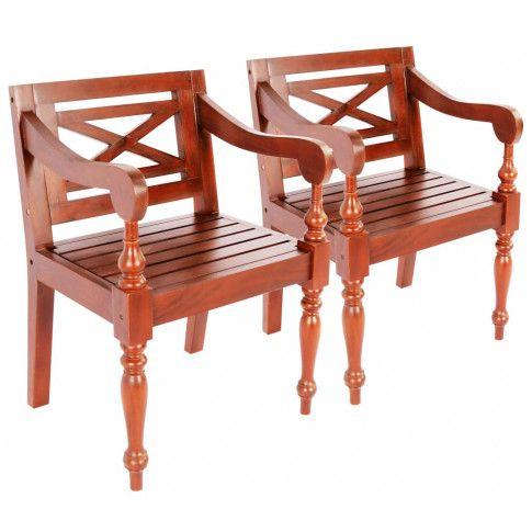 Zdjęcie produktu Mahoniowe krzesła na taras Amarillo 2 szt - ciemnobrązowe.