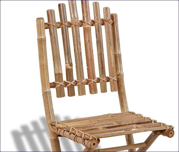 Ogrodowe składane krzesła z bambusa Javal