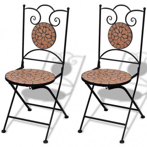 Zdjęcie produktu Zestaw ceramicznych krzeseł ogrodowych Leah - brązowy.