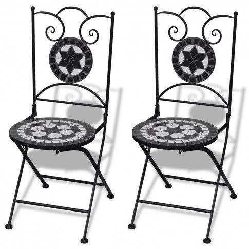 Zdjęcie produktu Zestaw ceramicznych krzeseł ogrodowych Leah - czarno-biały.