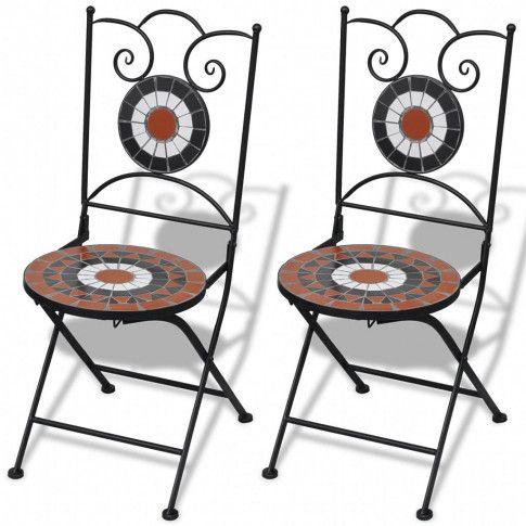 Zdjęcie produktu Zestaw ceramicznych krzeseł ogrodowych Leah - brązowo-biały.