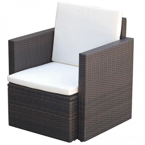 Brązowy polirattanowy fotel ogrodowy Leslie