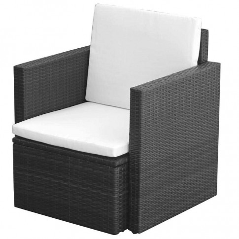 Czarny polirattanowy fotel ogrodowy Leslie