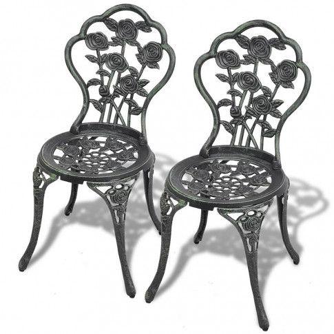 Zdjęcie produktu Zestaw metalowych krzeseł ogrodowych Mesa - zielony.
