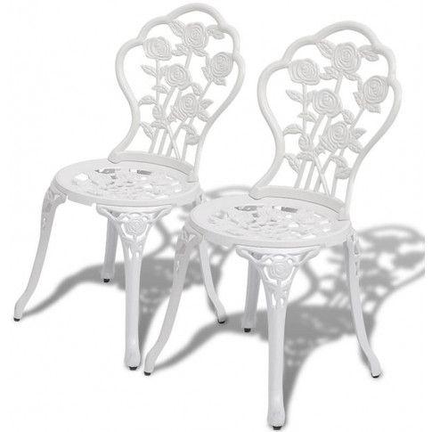 Zdjęcie produktu Zestaw metalowych krzeseł ogrodowych Mesa - biały.