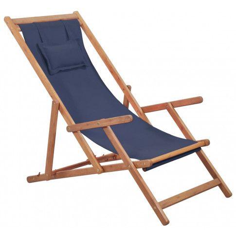 Zdjęcie produktu Granatowy drewniany leżak plażowy - Inglis.