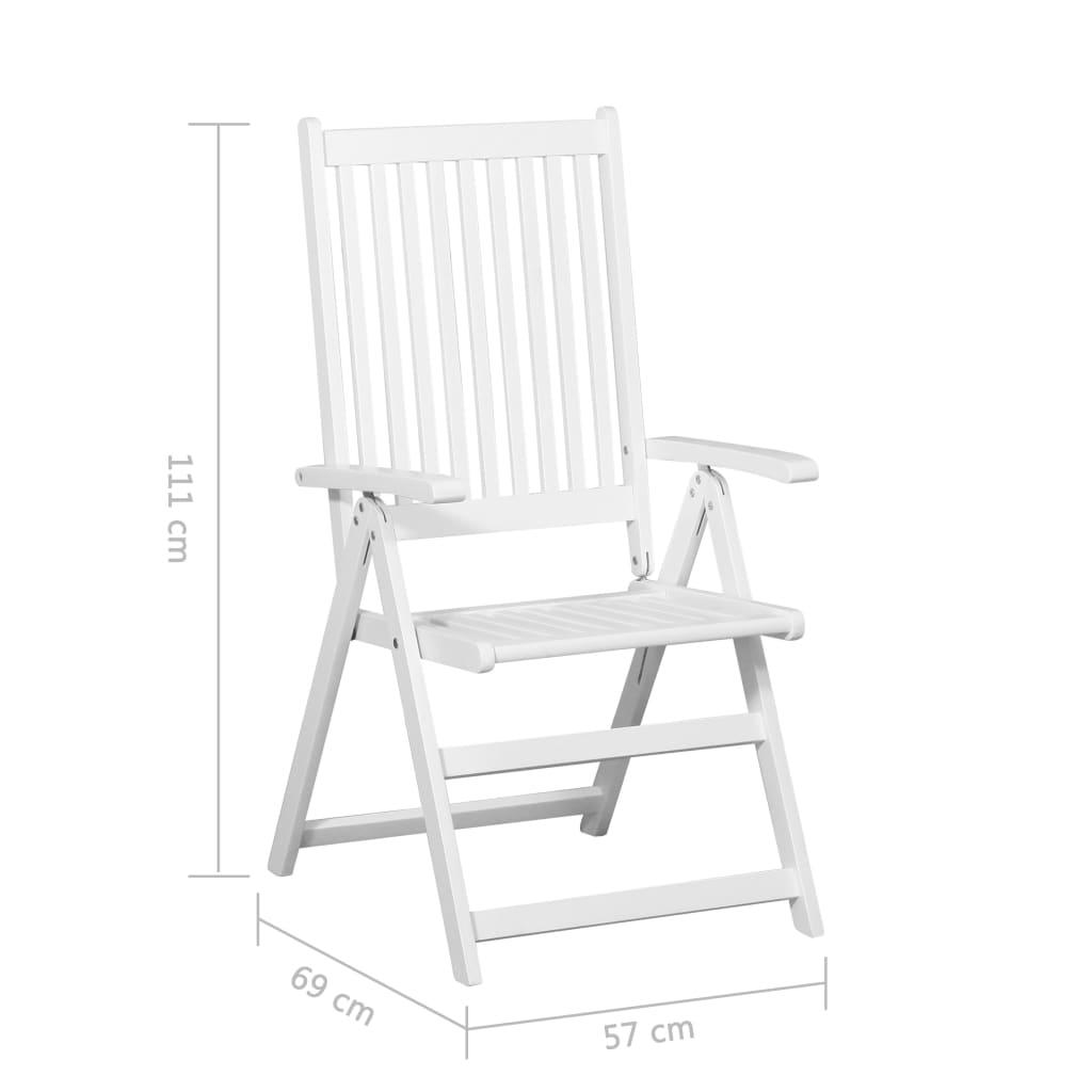 vidaXL Krzesła składane, 2 szt., lite drewno akacjowe, białe sklep Edinos.pl