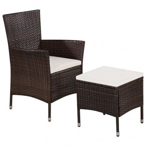 Zdjęcie produktu Fotel ogrodowy z podnóżkiem Felnar - brązowy.