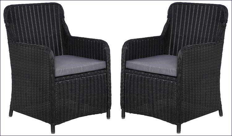 Polirattanowe fotele tarasowe czarne Grafton