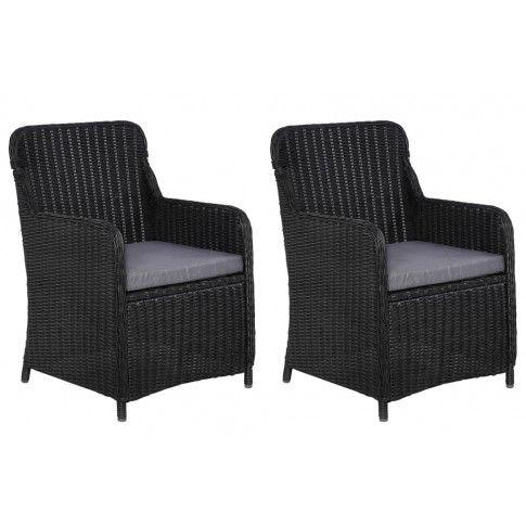 Zdjęcie produktu Fotele polirattanowe ogrodowe Grafton 2 szt - czarne.