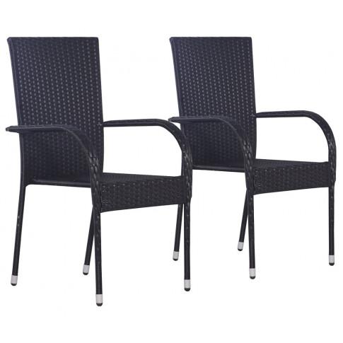 zestaw czarnych krzeseł ogrodowych nelly