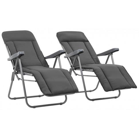 Zestaw szarych składanych krzeseł ogrodowych Noel