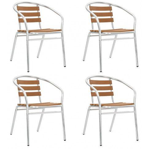 Zdjęcie produktu Zestaw metalowych krzeseł ogrodowych Folind 3X - srebrny.