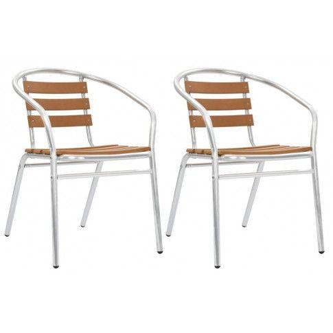 Zdjęcie produktu Zestaw metalowych krzeseł ogrodowych Folind 2X - srebrny.