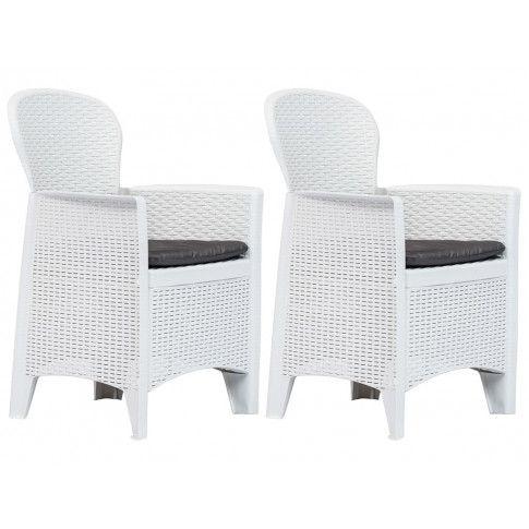 Zdjęcie produktu Krzesła ogrodowe z poduszkami Campos 2 szt - białe.