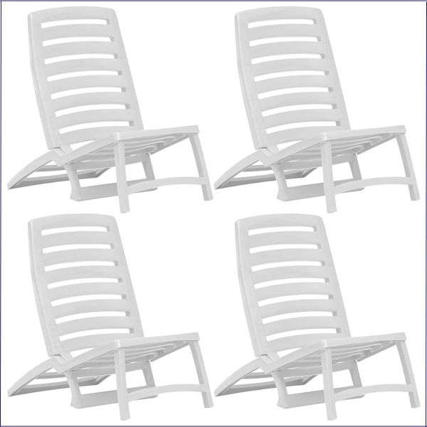 Składane leżaki plażowe białe Lido
