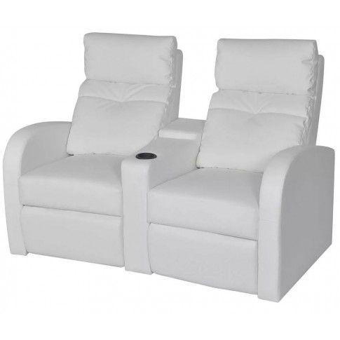 Zdjęcie produktu Kinowe fotele rozkładane z ekoskóry Mevic – białe.