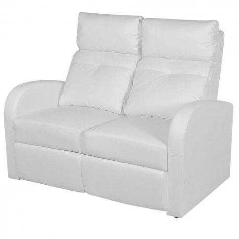 Zdjęcie produktu Podwójne rozkładane fotele kinowe z ekoskóry Mevic 2X – białe .