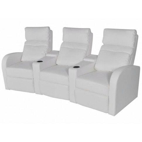 Zdjęcie produktu Rozkładane fotele kinowe z ekoskóry Mevic 3X – białe.