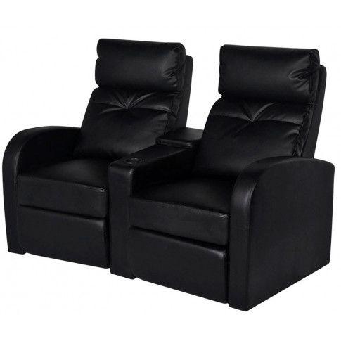Zdjęcie produktu Fotele kinowe z ekoskóry Mevic – czarne.