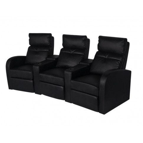 Zdjęcie produktu  Fotele kinowe ze sztucznej skóry Mevic 3X – czarne.