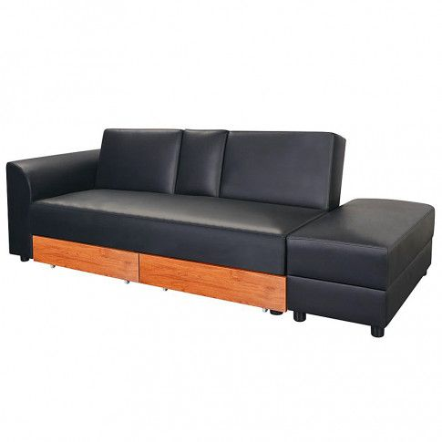 Zdjęcie produktu Rozkładana sofa Primera z ekokóry - czarna.