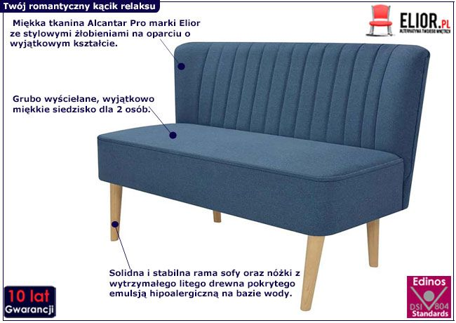 Niebieska lekka sofa Shelly