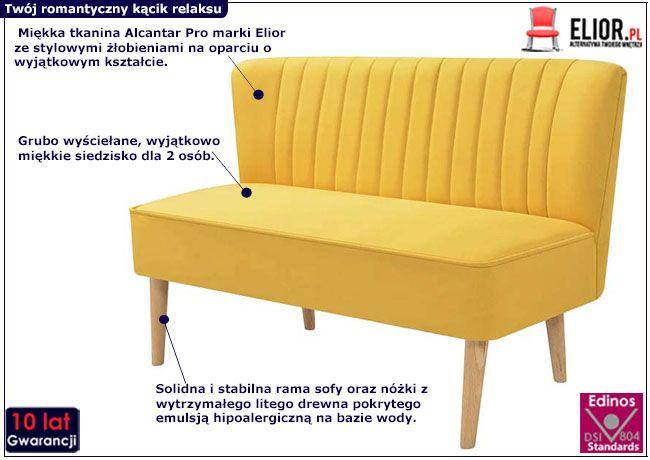 Żółta sofa Shelly do salonu