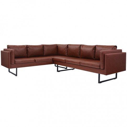 Zdjęcie produktu Przestronna sofa narożna Miva 2X - brązowa.
