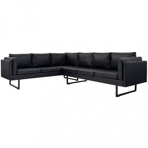 Zdjęcie produktu Przestronna sofa narożna Miva 2X - czarna.