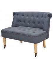 Romantyczna mała sofa Edme - szara